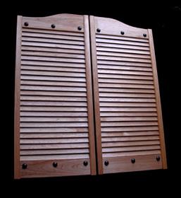 Louvered Hardwood Swinging Doors - Riveted